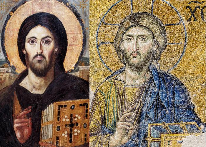 El Pantocrátor fue una representación muy estable. Seis siglos separan estas imágenes: el Pantocrátor del Sinaí (siglo VI, izquierda) y un mosaico de Hagia Sofía (siglo XII, derecha).