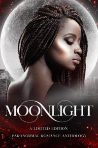 The Title the book, Moonlight, is spelled out in white swirling letters. There  is a picture of an attractive ack woman with braided hair looking away from a full moon.