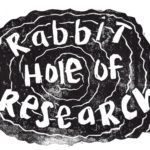 Rabbit Hole of Research Newsletter Logo. A swirling design with Block Bubble Letters on top Spelling out Rabbit Hole of Research