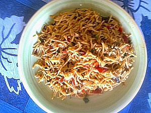 A plate of cooked spaghetti
