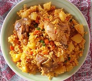 palm oil local rice with Irish potatoes
