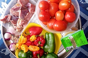 Some of the ingredients for preparing stuffed pepper soup