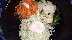 Add the salad cream to your desired quantity and mix well to combine