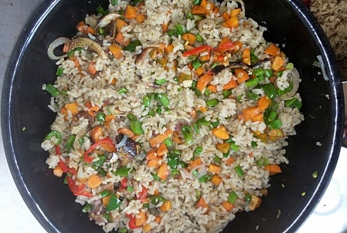 Allow the rice to sit on a low heat with close lid