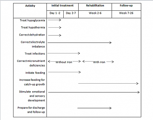A chart showing the Treatment Guideline for Marasmus