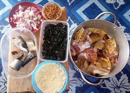 Ingredients for preparing of egusi soup