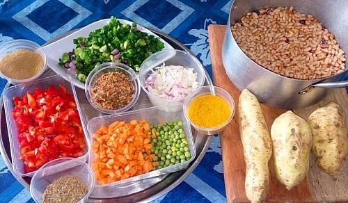 Ingredients for cooking sweet Potato and White kidney beans porridge