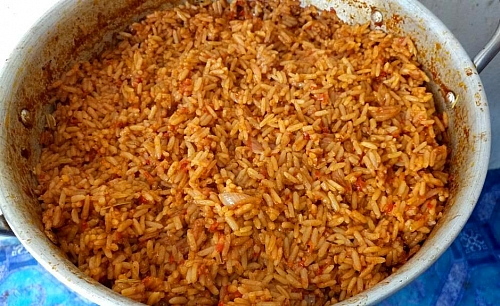 Your party jollof rice is ready once the liquid is dried and the rice is soft