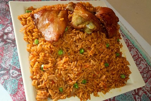 A plate of delicious Nigerian party jollof rice with chicken