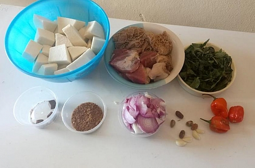 Ingredients for making yam pepper soup