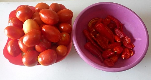 Ingredients for making tomato powder, Fresh tomatoes, red chilies and scotch bonnets