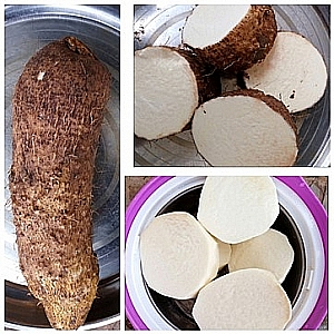 Sliced Yam. When sliced, Yam and potatoes may look white and may be confusing