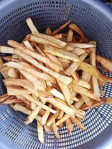 Fried Yam in a colander