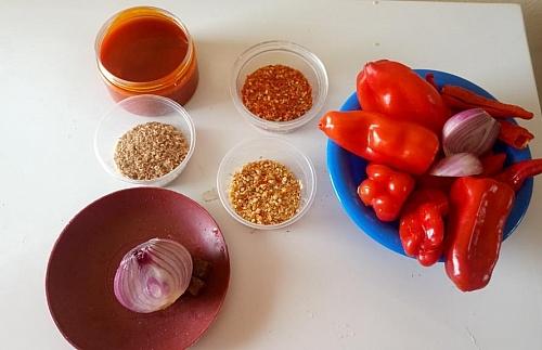 Ingredients for making ewa agoyin sauce/stew