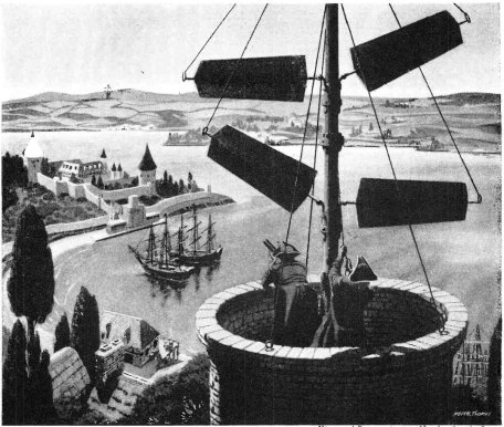 Illustration of communication by mechanical semaphore in 1800s France. Lines of towers supporting semaphore masts were built within visual distance of each other. The arms of the semaphore were moved to different positions, to spell out text messages. The operators in the next tower would read the message and pass it on. Invented by Claude Chappee in 1792, semaphore was a popular communication technology in the early 19th century until the telegraph replaced it. (source: wikipedia.org)