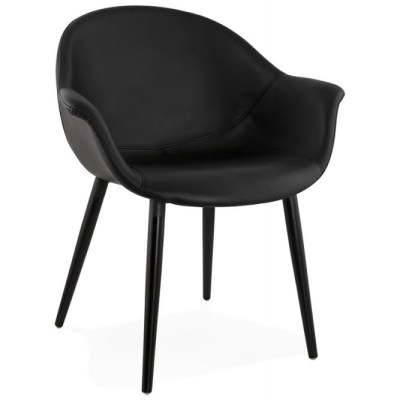 designer armchair and modern black leatherette