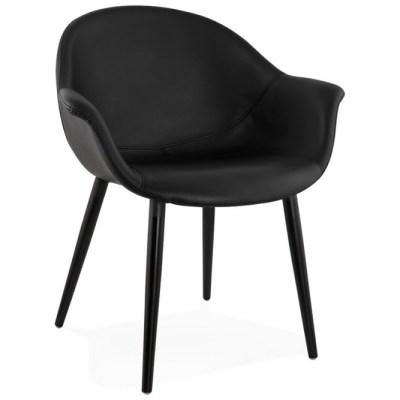 fauteuil chaise design et moderne en similicuir noir