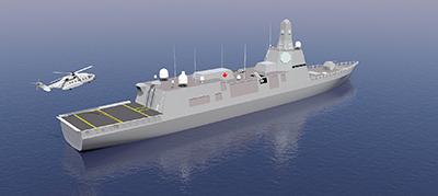 Représentation d'un modèle conceptuel du navire de combat de surface canadien.