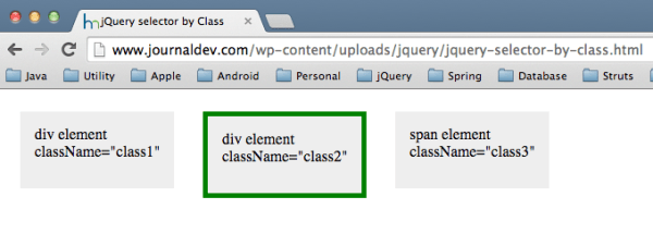 jQuery select by class - JournalDev