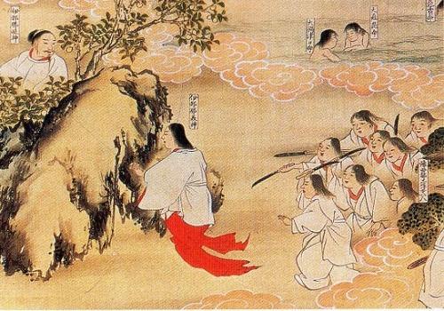 Izanagi et Izanami avec le rocher qui les sépare