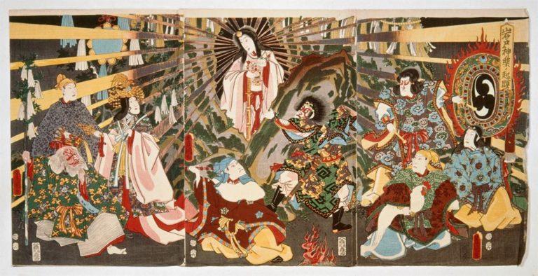 Amaterasu sortant de la caverne, estampe par Kunisada