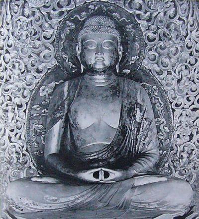 Statue du Bouddha Amida par Jôchô réalisée en 1053