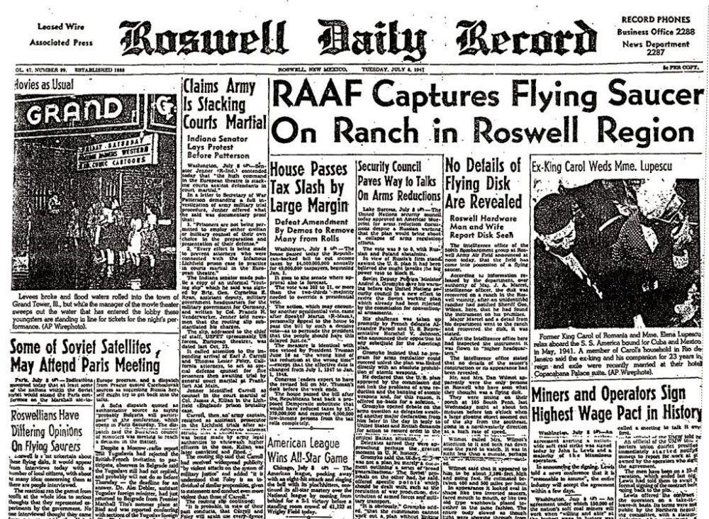 Crash Roswell Article de Journal