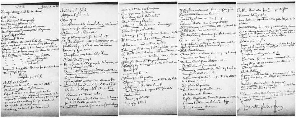 Edison's famous five-page to-do list. How long is yours? Source: Edison Papers