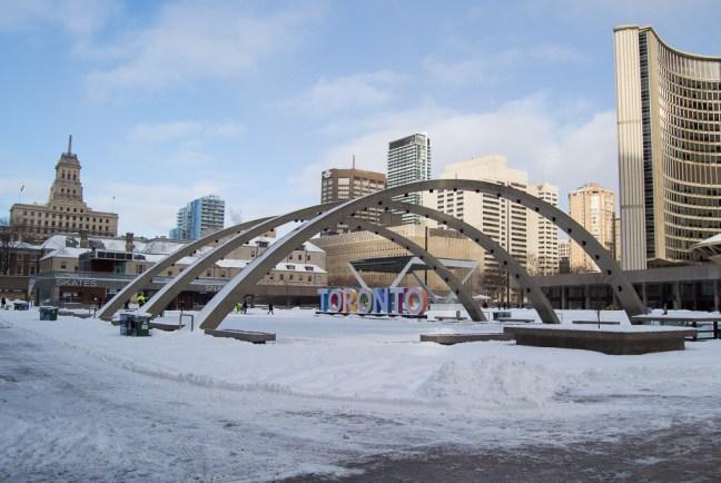 Toronto ice rink snow