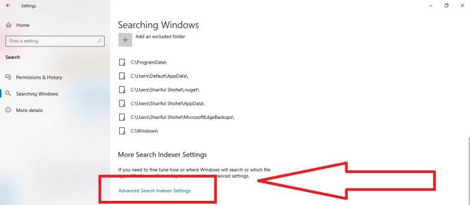 windows 10 more search indexer settings