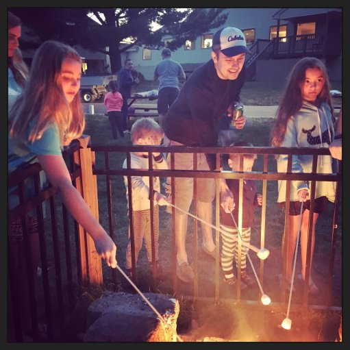 Roasting marshmallows at the Red Jacket