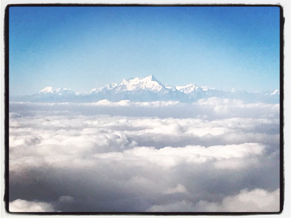 The peak of Everest over the clouds