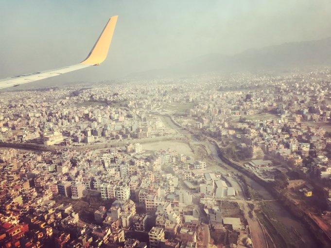 Landing in Kathmandu- view out window