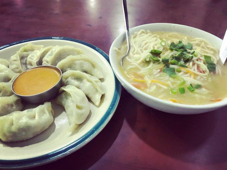 Momos and Noodle Soup
