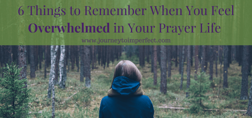Have you ever felt overwhelmed in your prayer life? I think a lot of us do, but it's easy to get discouraged and feel alone. It's very true that prayer can be overwhelming, but it's also true that there are things we can do about it. Click to read more.
