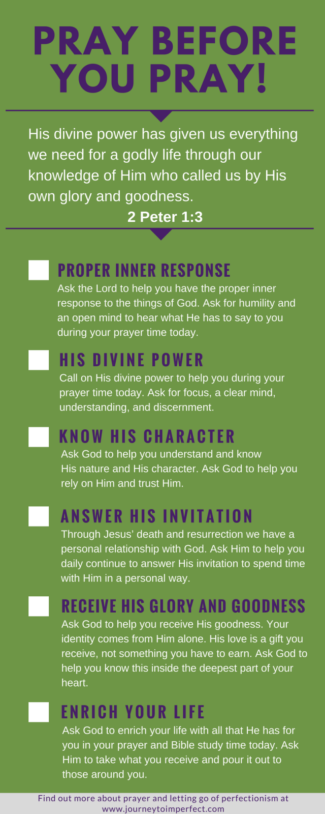 God will equip us for living a life that is pleasing to Him. This includes equipping us for our prayer life! Empower your prayer life by praying over these 6 areas before you go into your prayer time. Based on a Greek word study of 2 Peter 1:3! Click to read more!