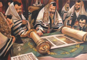 Jews around a Torah scroll