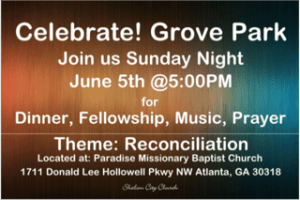 This coming Sunday is our second ever Celebrate! Grove Park group