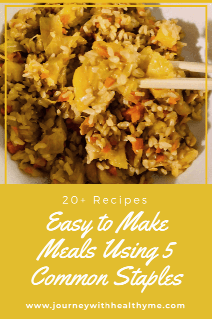 Easy to Make Meals Using 5 Common Staples title meme