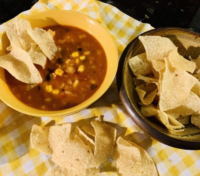 Easy Vegan Tortilla Soup with chips