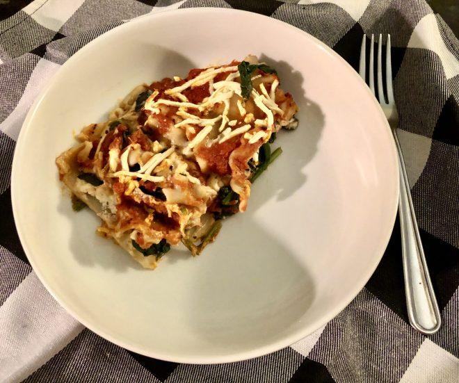 Vegan Spinach Lasagna ready to eat