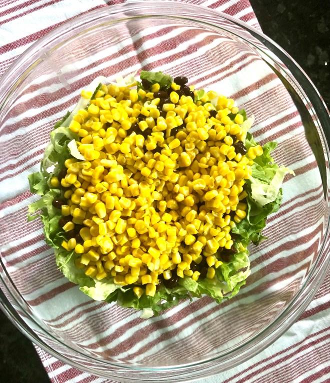 Vegan Southwestern Layered Salad corn and beans
