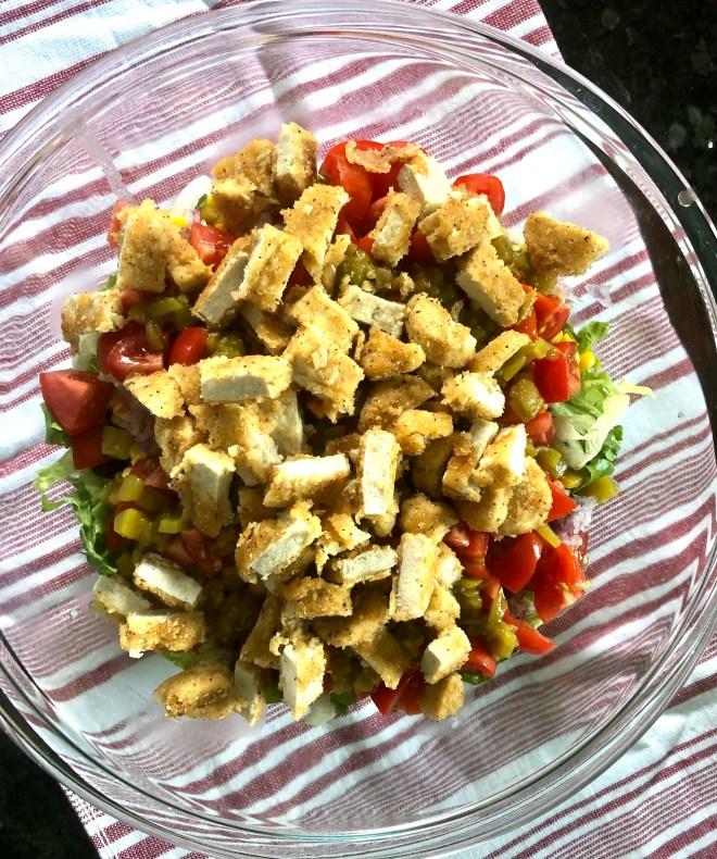 Vegan Southwestern Layered Salad vegan chick'n
