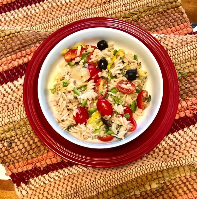 Gluten Free Mediterranean Pasta Salad plated