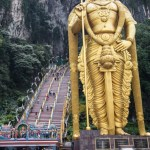 Lord Murugan towers over the Entrance to Batu Caves