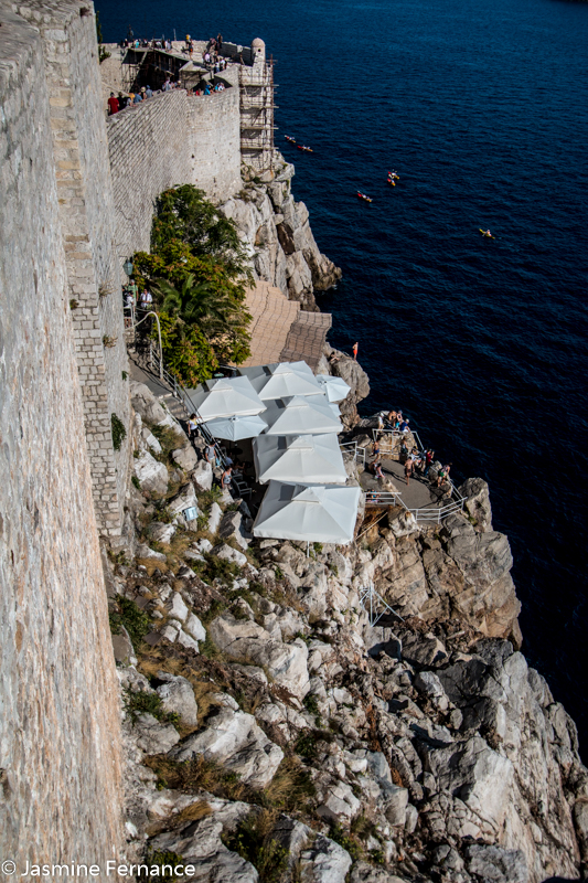 Cliffside bars in Dubrovnik
