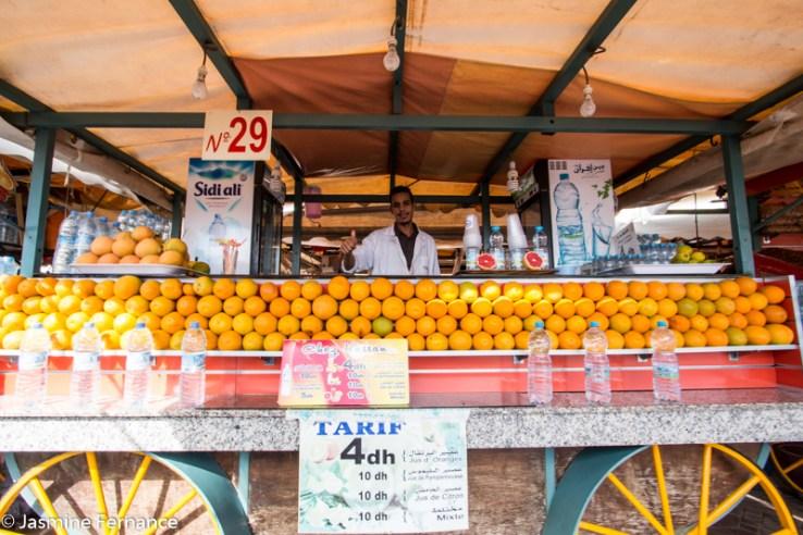 Freshly squeezed orange juice in Jemaa el-Fna
