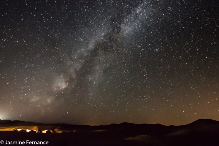 The night sky full of stars in the Moroccan Sahara