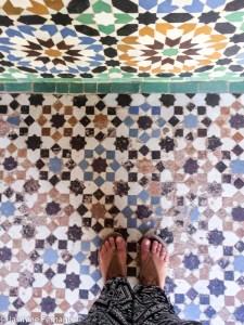 Tiling in Marrakech's Merdersa Ali ben Youssef