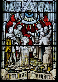Welsh Stained glass window, 1822, Church of St. Stephen, Old Radnor, Powys.